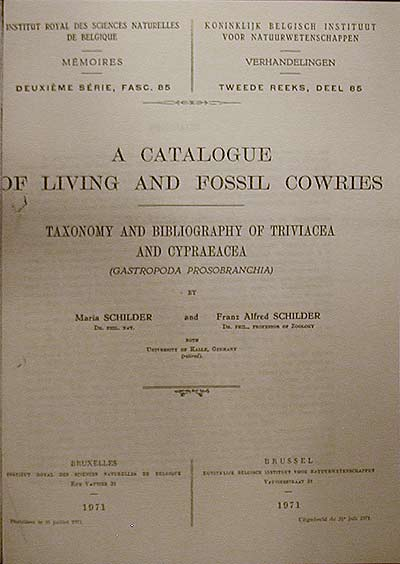 Catalog of Living and Fossil Cowries